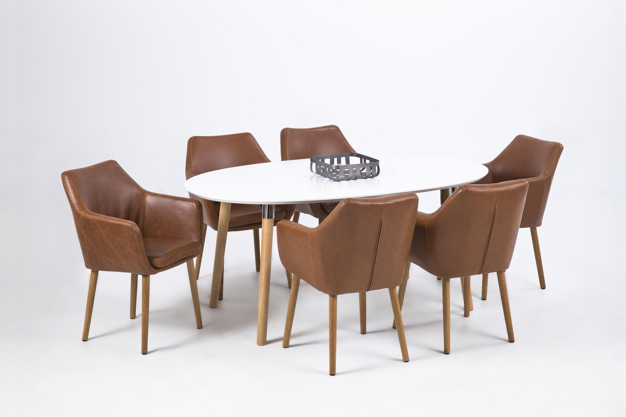 Table extensible de style scandinave blanc et bois hellin for Table salle a manger extensible