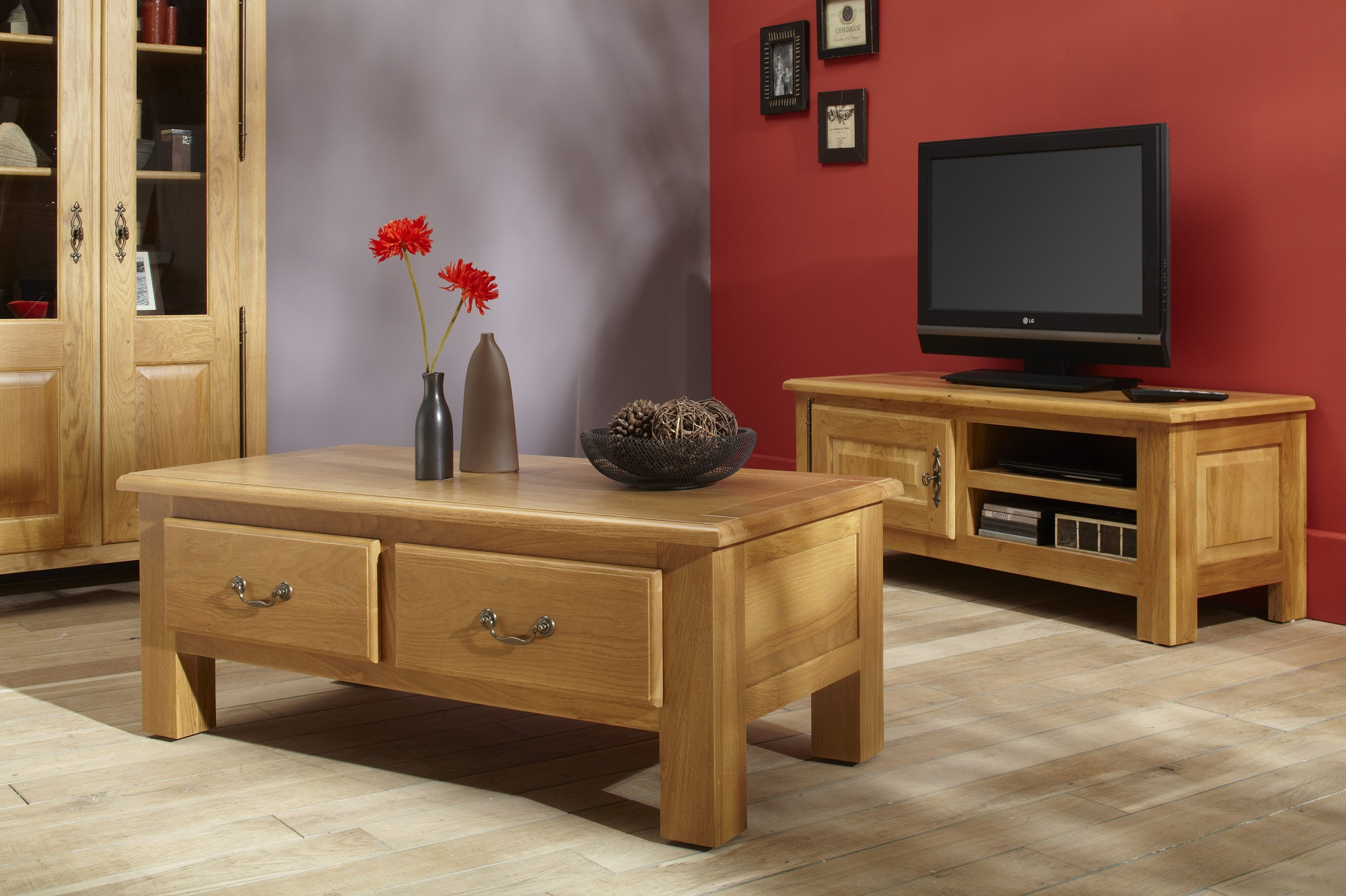 meuble tv mansart en bois ch ne massif finition ch ne. Black Bedroom Furniture Sets. Home Design Ideas