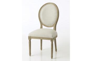 Chaise médaillon lin gris