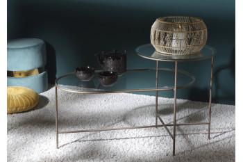 Table basse verre et métal design
