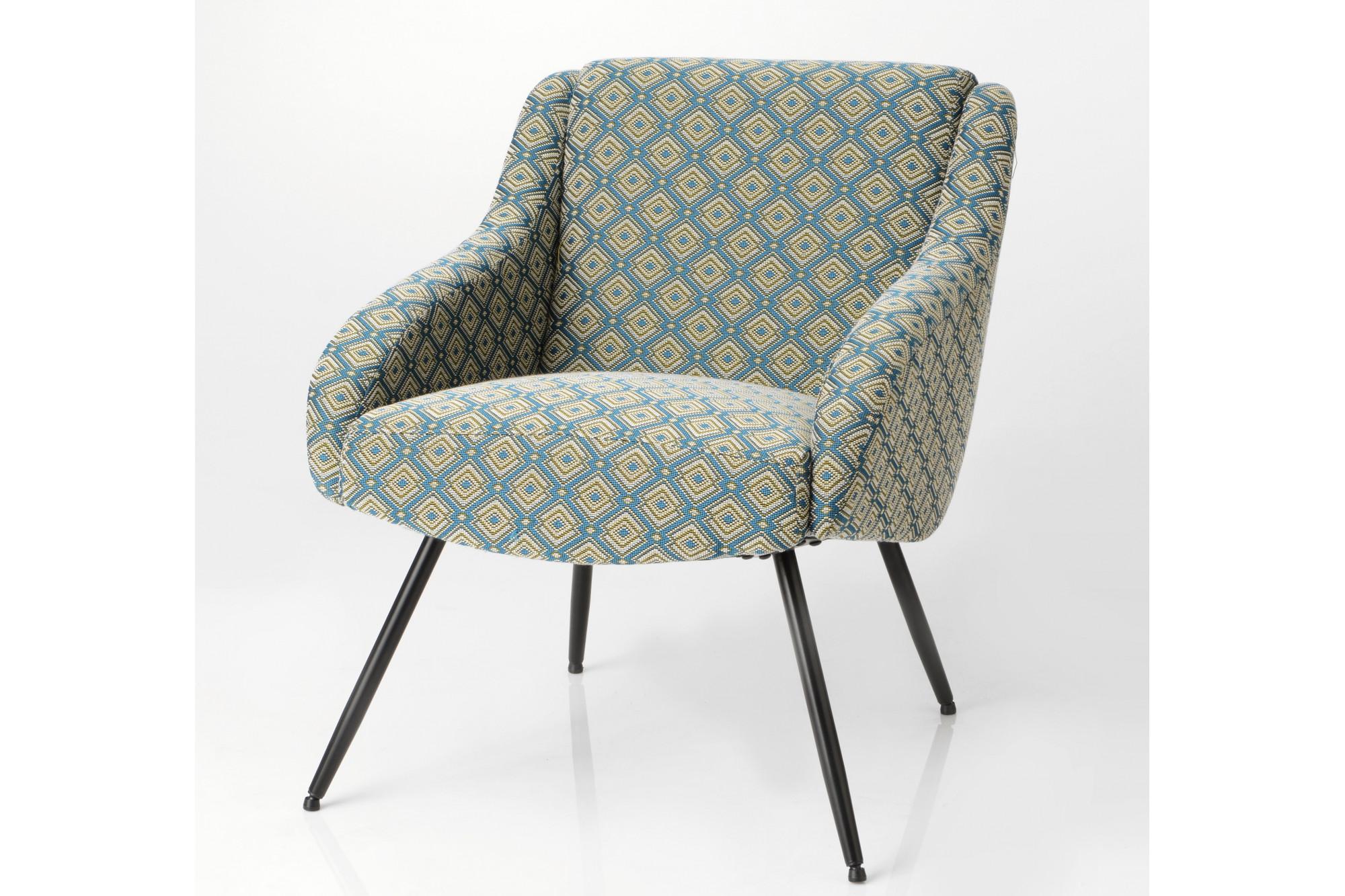 fauteuil en tissu jacquard franais et pieds en mtal noir - Fauteuil En Tissu