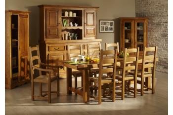 Table de ferme + 6 chaises + bahut 3 portes LA BRESSE - bois chêne massif