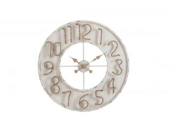 Horloge en métal blanc et toile de jute