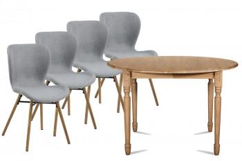 Table ronde pieds tournés 115 cm VICTORIA + 4 chaises Matilda