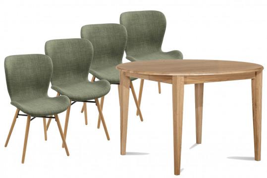 Table ronde pieds Fuseau 105 cm + 4 chaises Matilda