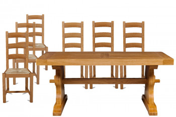 Table monastère en chêne massif L180 + 6 chaises La Bresse