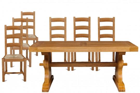 Table monastère en chêne massif 180 + 6 chaises La Bresse