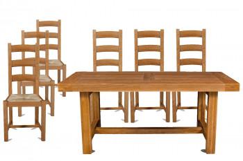 Table de ferme en chêne massif + 6 chaises - La Bresse