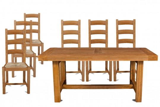 Ensemble table de ferme + 6 chaises - La Bresse