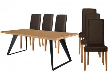 Table Filigrame pieds métal + 6 chaises en cuir Nancy