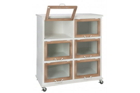 Desserte vitrée métal et bois mobile - 6 portes