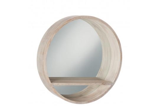 Miroir rond avec tablette en bois