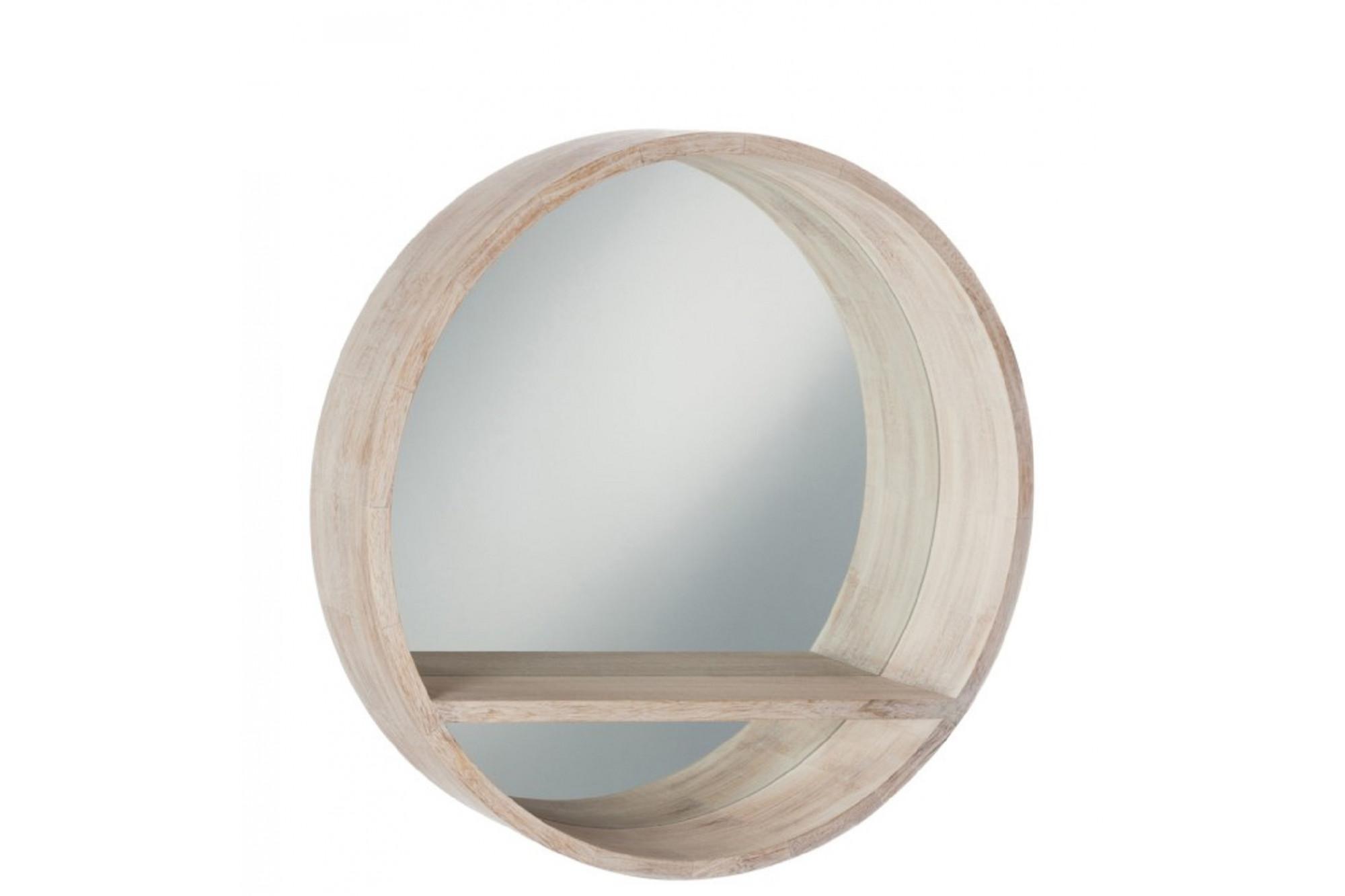 miroir rond avec contour et tablette en bois blanchi hellin. Black Bedroom Furniture Sets. Home Design Ideas