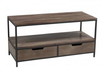 Table basse ALLEN en métal et bois - 2 tiroirs