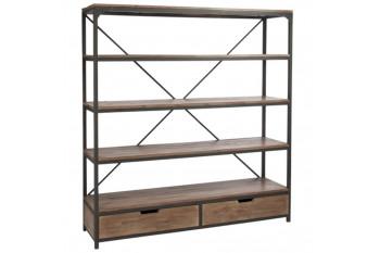 Bibliothèque ALLEN en bois et métal - 2 tiroirs