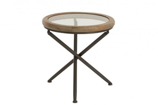 Bout de canapé rond avec plateau en verre/bois