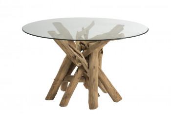 Table ronde en verre et bois flotté NOÉ