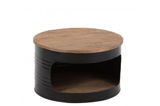 table basse fut en métal et bois