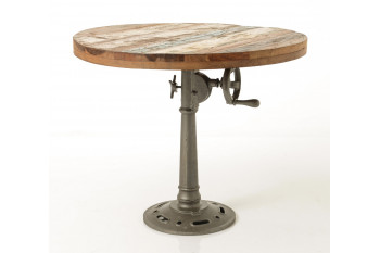 TABLE RONDE EN BOIS/METAL REGLABLE - MALGA