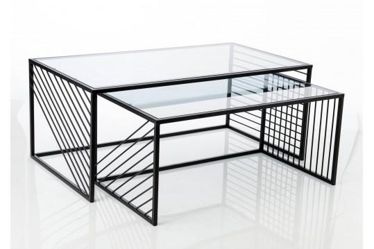 Tables basses gigogne en métal et verre - TRIMAX
