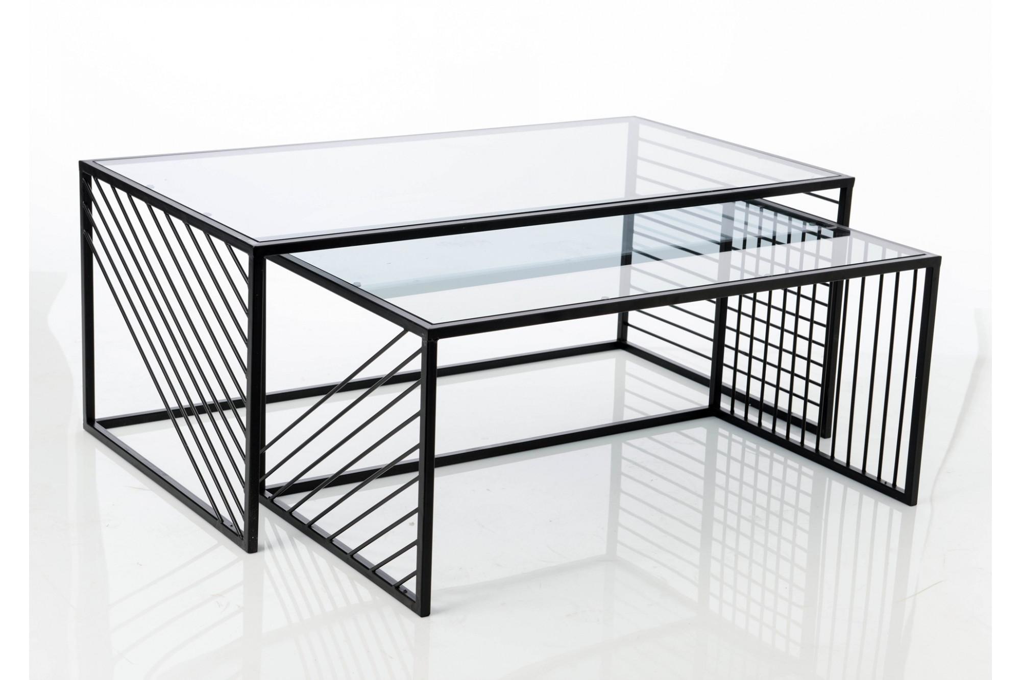 nouveau concept 871f8 0662c Tables basses graphique en métal et verre - Hellin