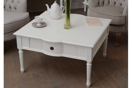 Table basse carrée 1 tiroir en bois - Agatha
