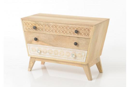 Commode en bois 3 tiroirs - Ethnique