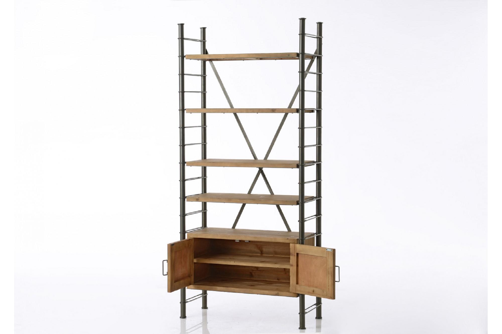 biblioth que modulable en m tal et bois hellin. Black Bedroom Furniture Sets. Home Design Ideas