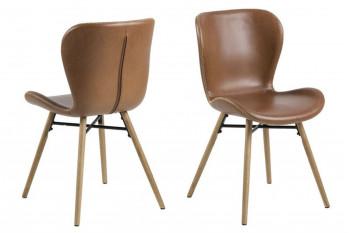 Chaises simili cuir et bois - MATILDA (Lot de 2)