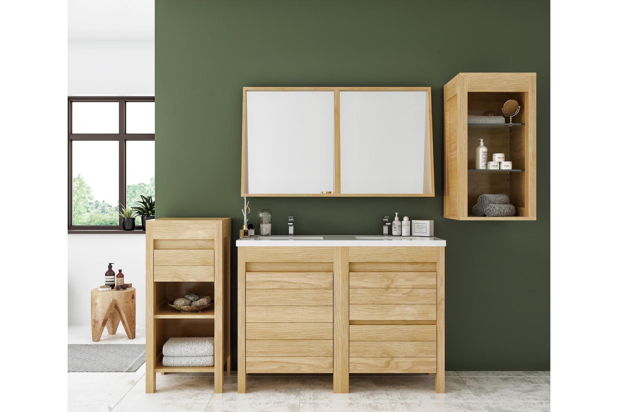 Bois Salle De Bain meubles de salle de bain avec double vasques et miroir en chêne clair -  hellin