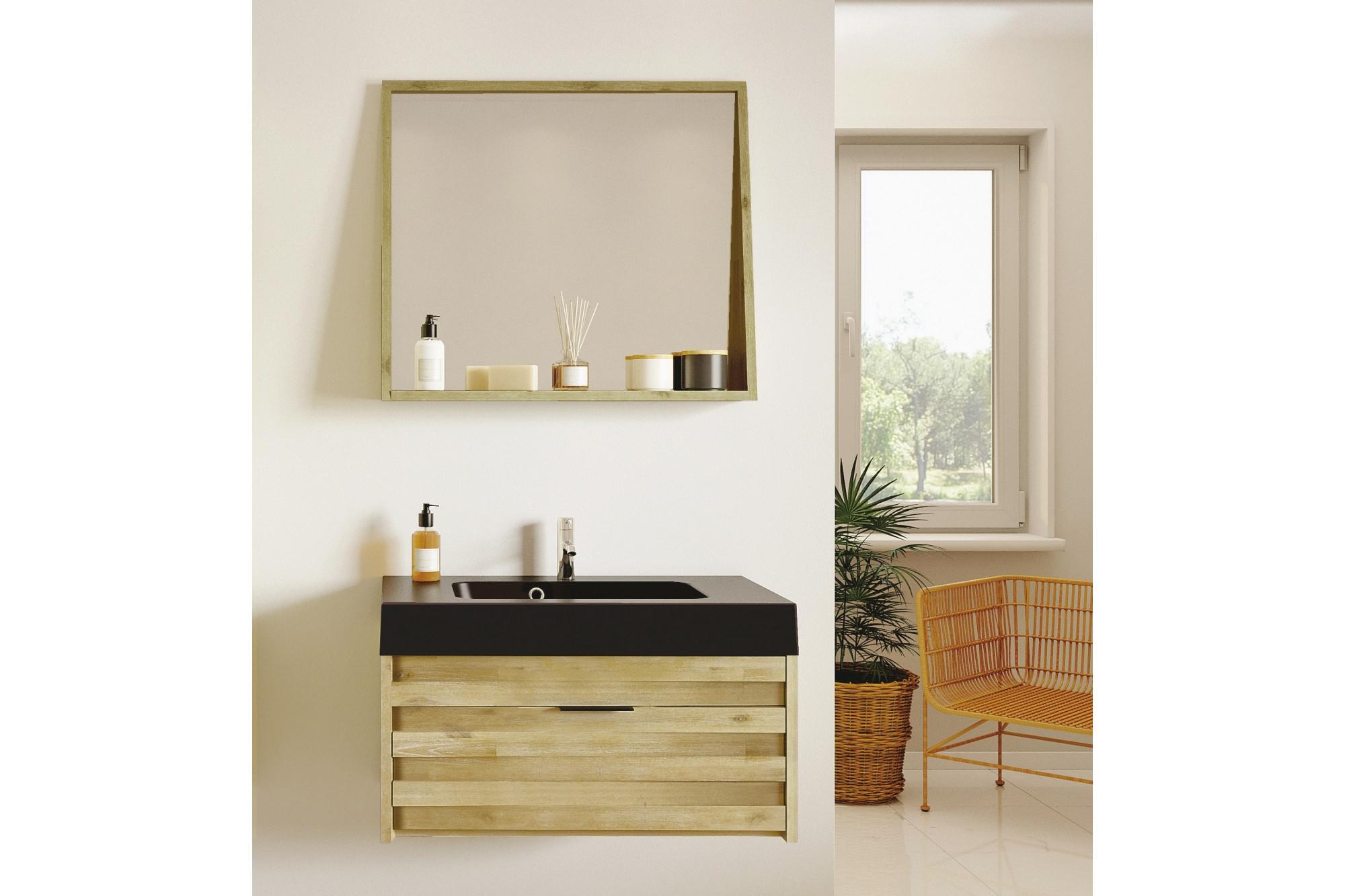 Bois Salle De Bain meuble de salle de bain en bois massif avec plan béton noir mat et miroir -  hellin