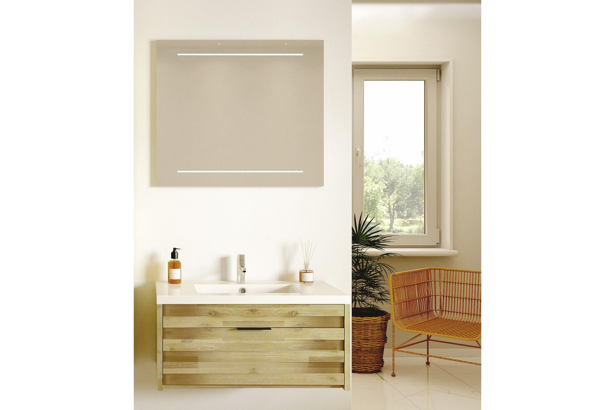 Salle De Bain Avec Bois meuble de salle de bain avec simple vasque et miroir led - hellin