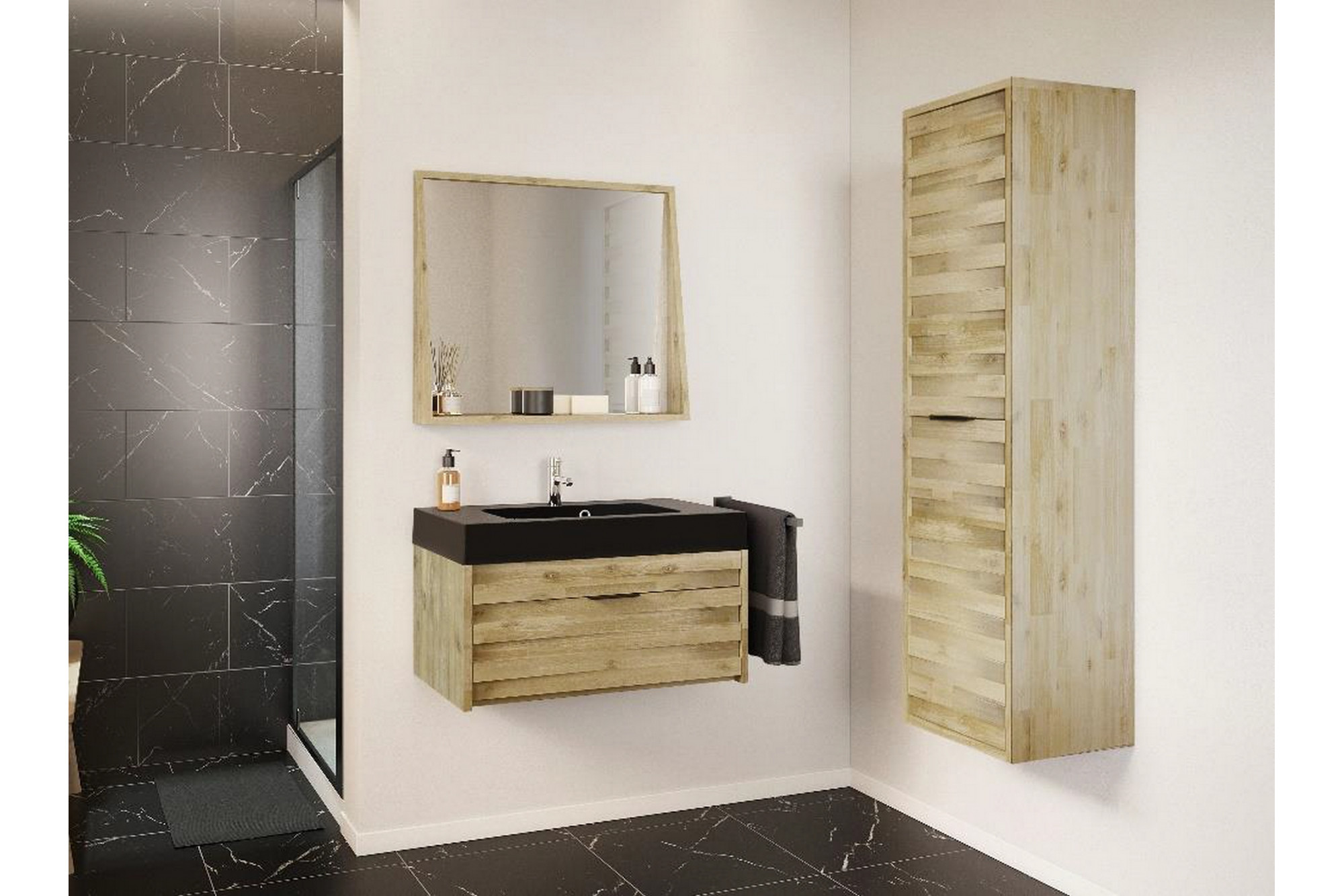 Meuble de salle de bain en bois massif avec plan béton noir ...
