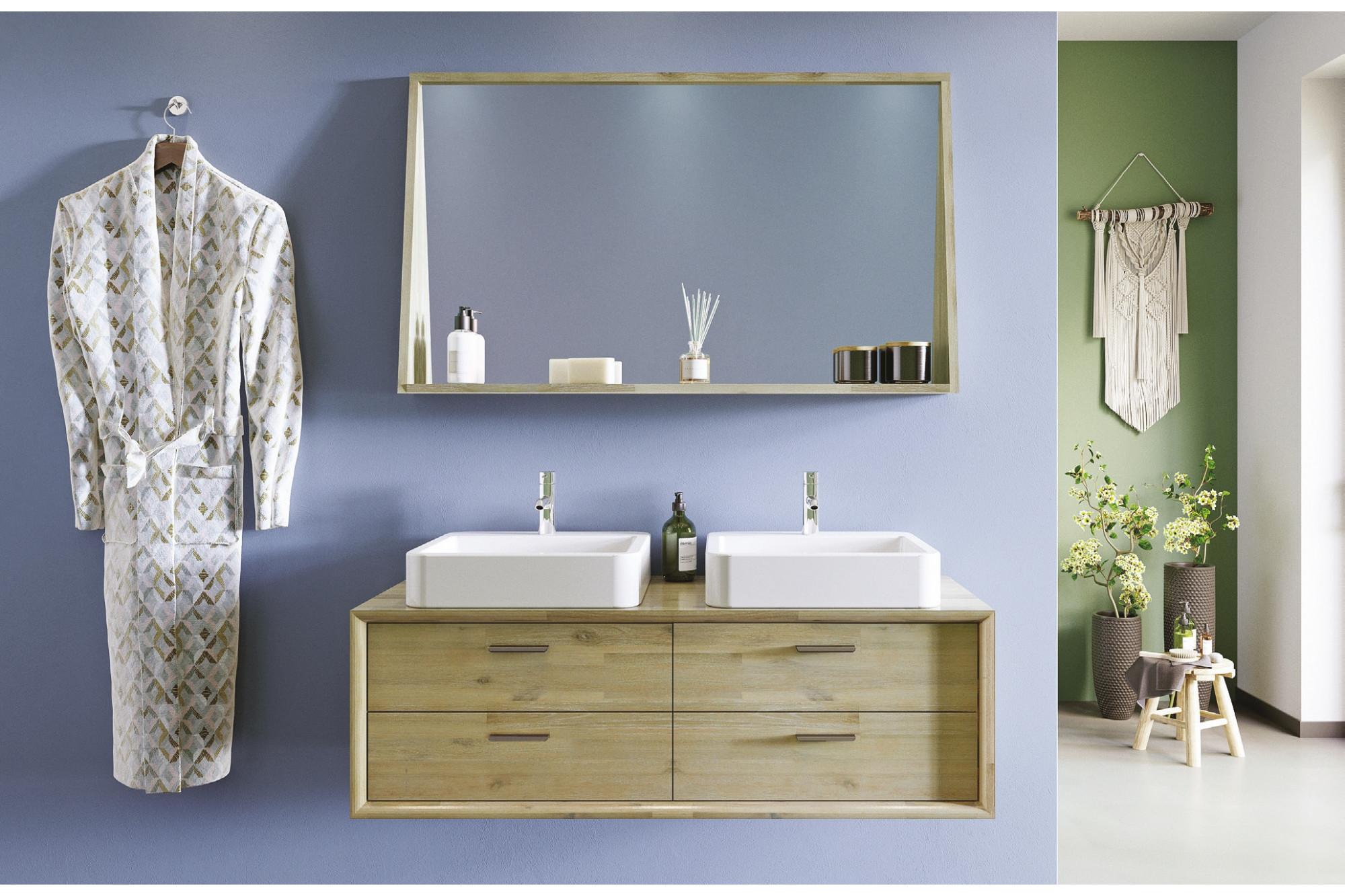 Meuble de salle de bain en bois massif 15 cm avec vasques et miroir -  Hellin