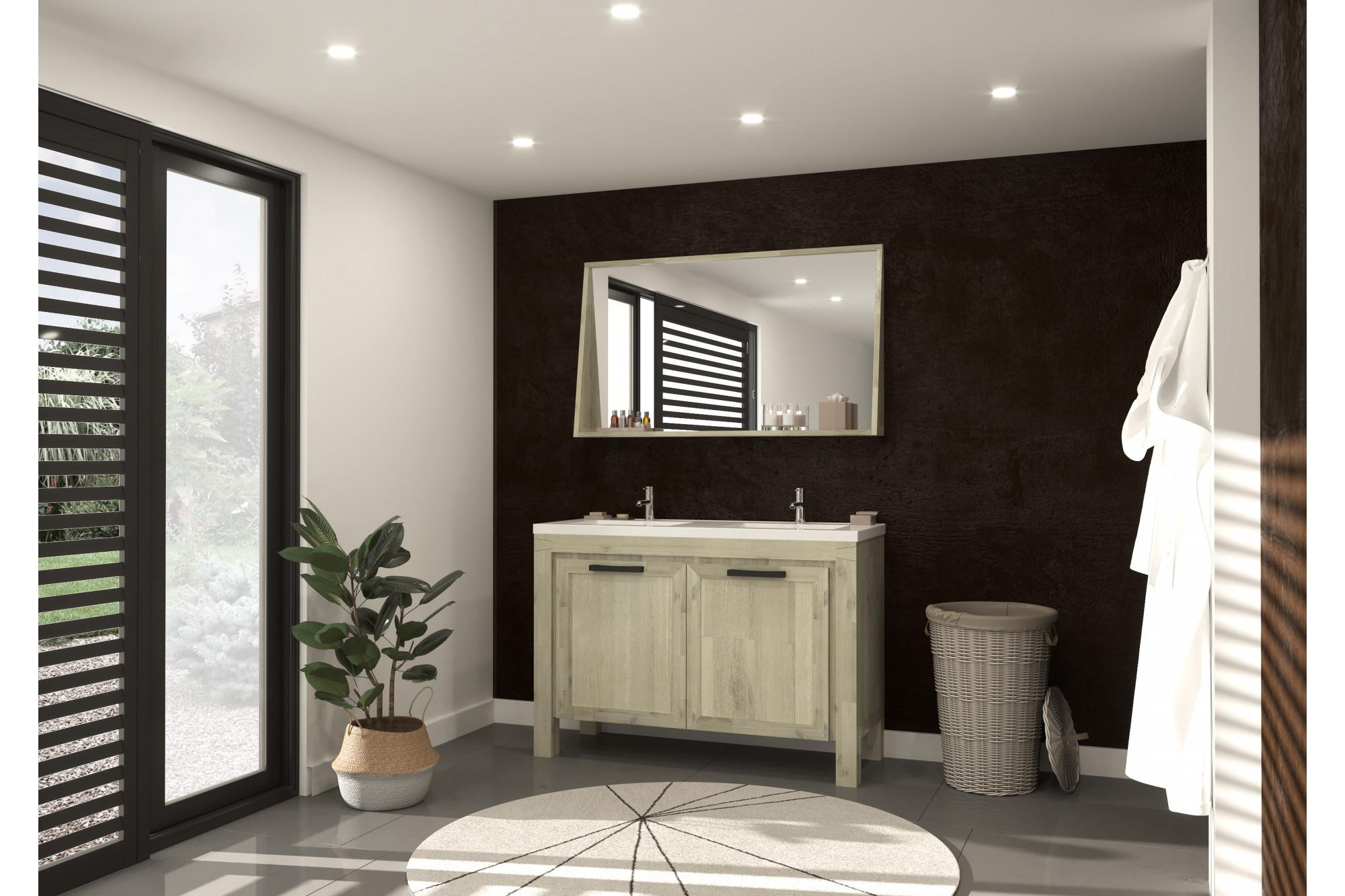 Salle De Bain Image meuble de salle de bain en bois massif de 120 cm avec double vasque et  miroir - hellin