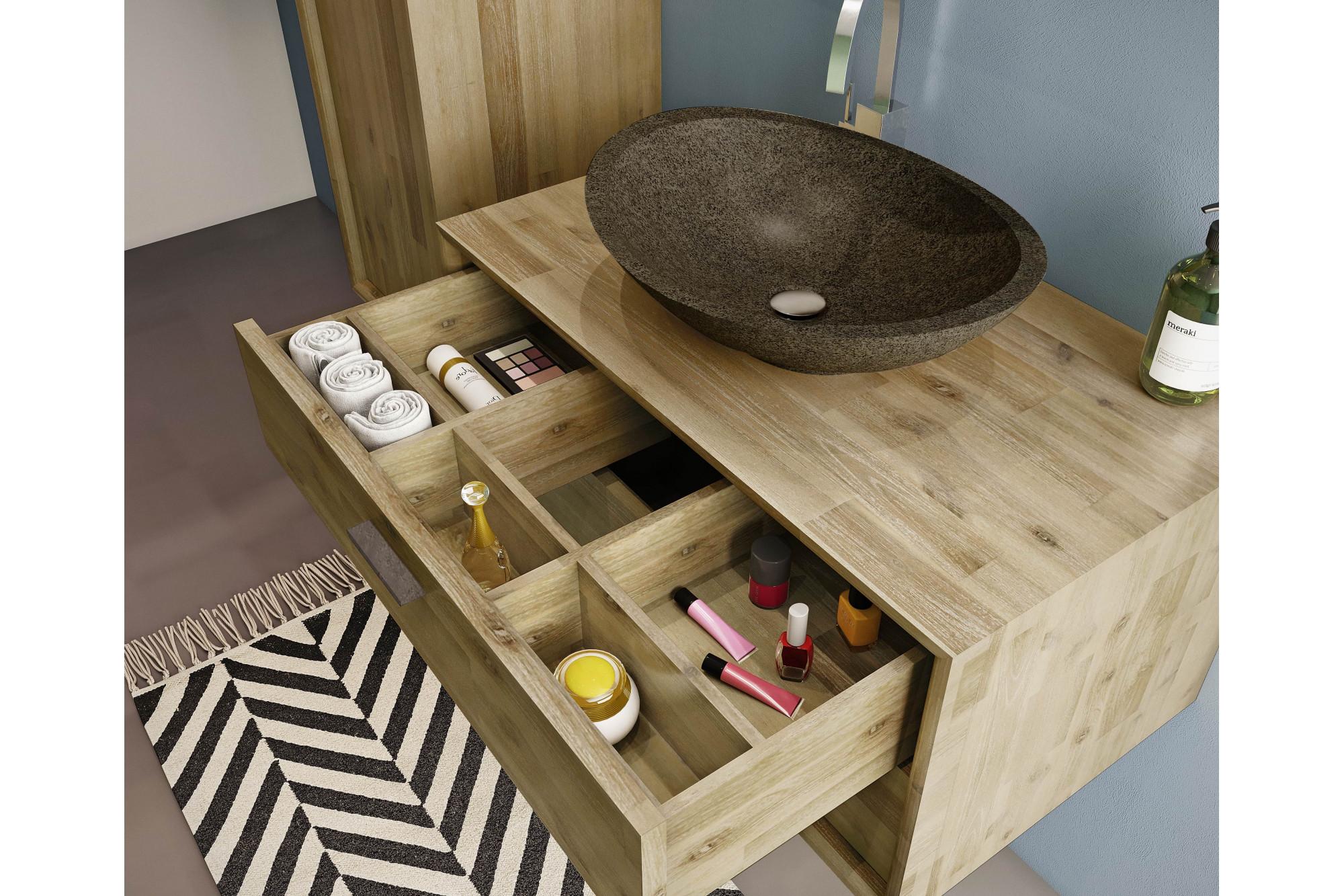 Salle De Bain Avec Bois meuble de salle de bain en bois 80 cm - vasque en pierre - ensemble fuji
