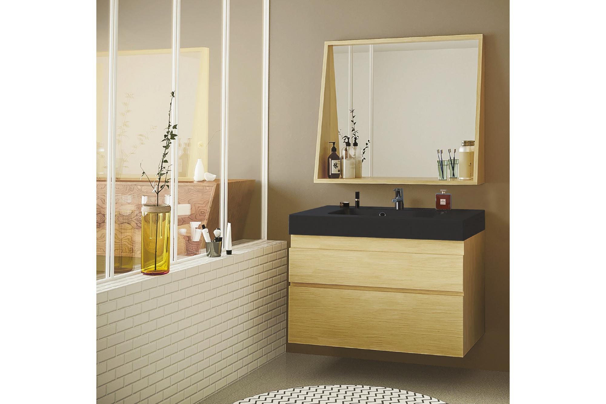Meuble de salle de bain en bois massif avec sa vasque noir ...