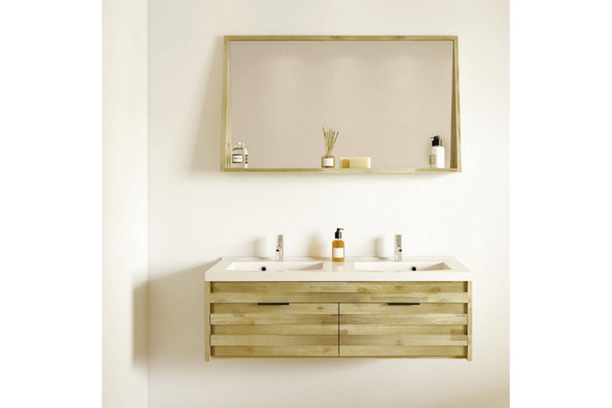 ensemble salle Meuble de salle de bain en bois massif avec double vasque et miroir - Hellin