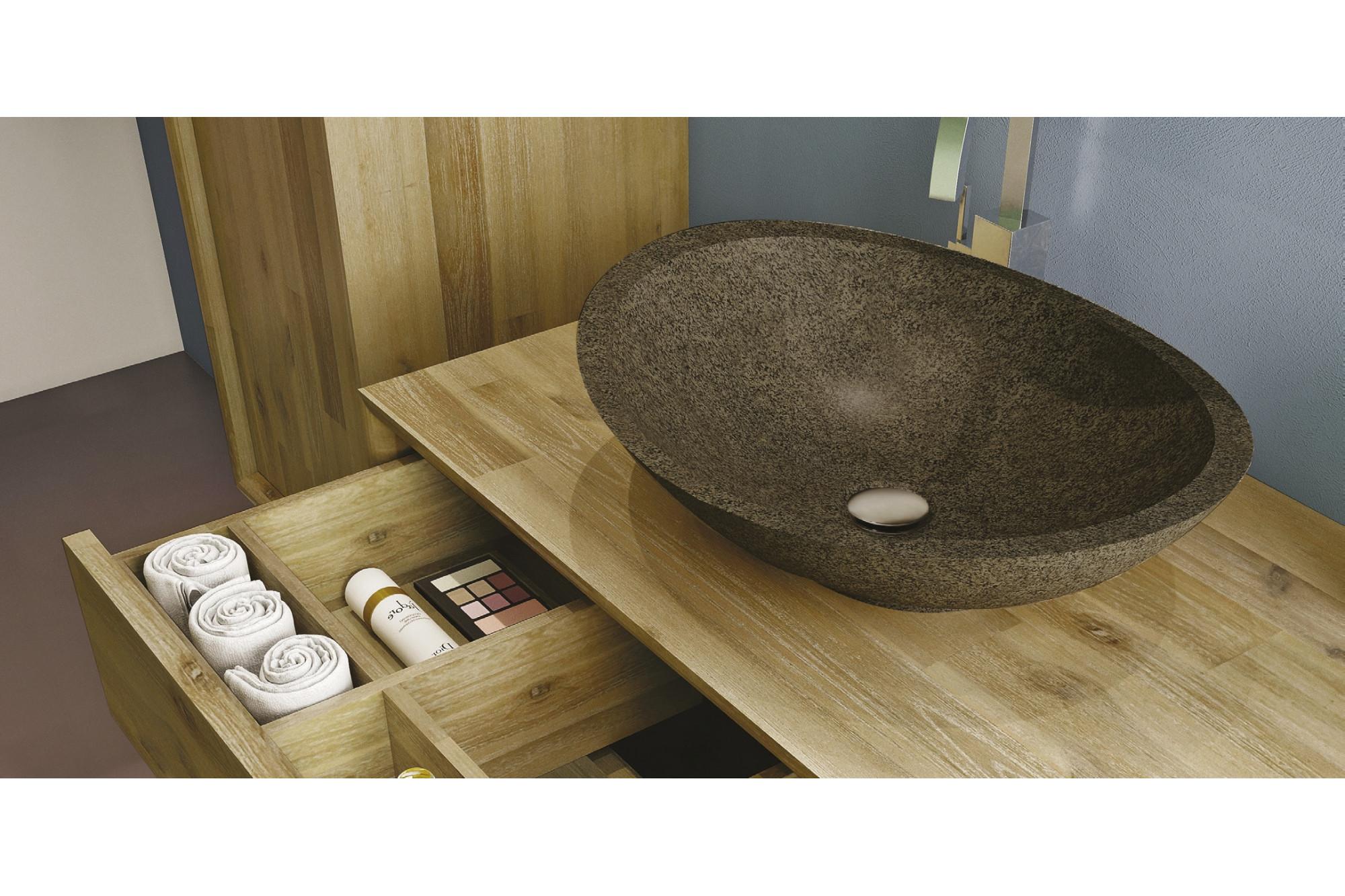 meuble de salle de bain en bois massif et sa vasque en. Black Bedroom Furniture Sets. Home Design Ideas