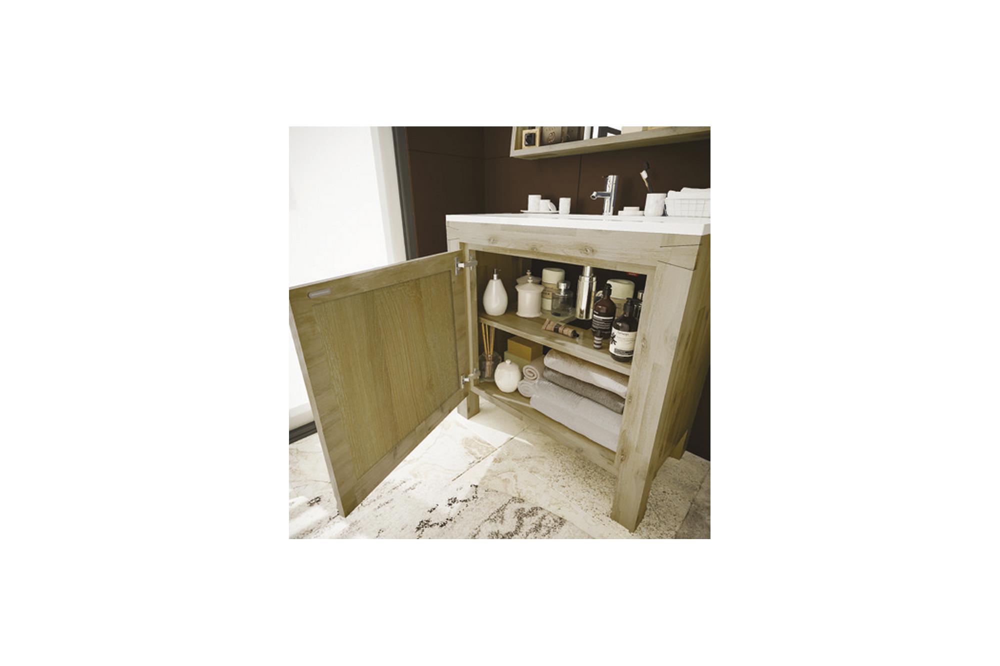 Tablette Salle De Bain 80 Cm meuble de salle de bain en bois massif de 80 cm avec vasque - hellin