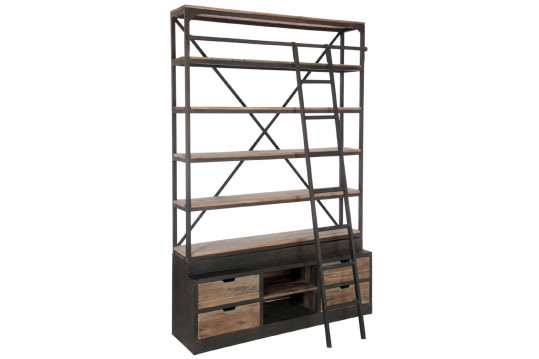 Bibliothèque à échelle en bois et métal noir