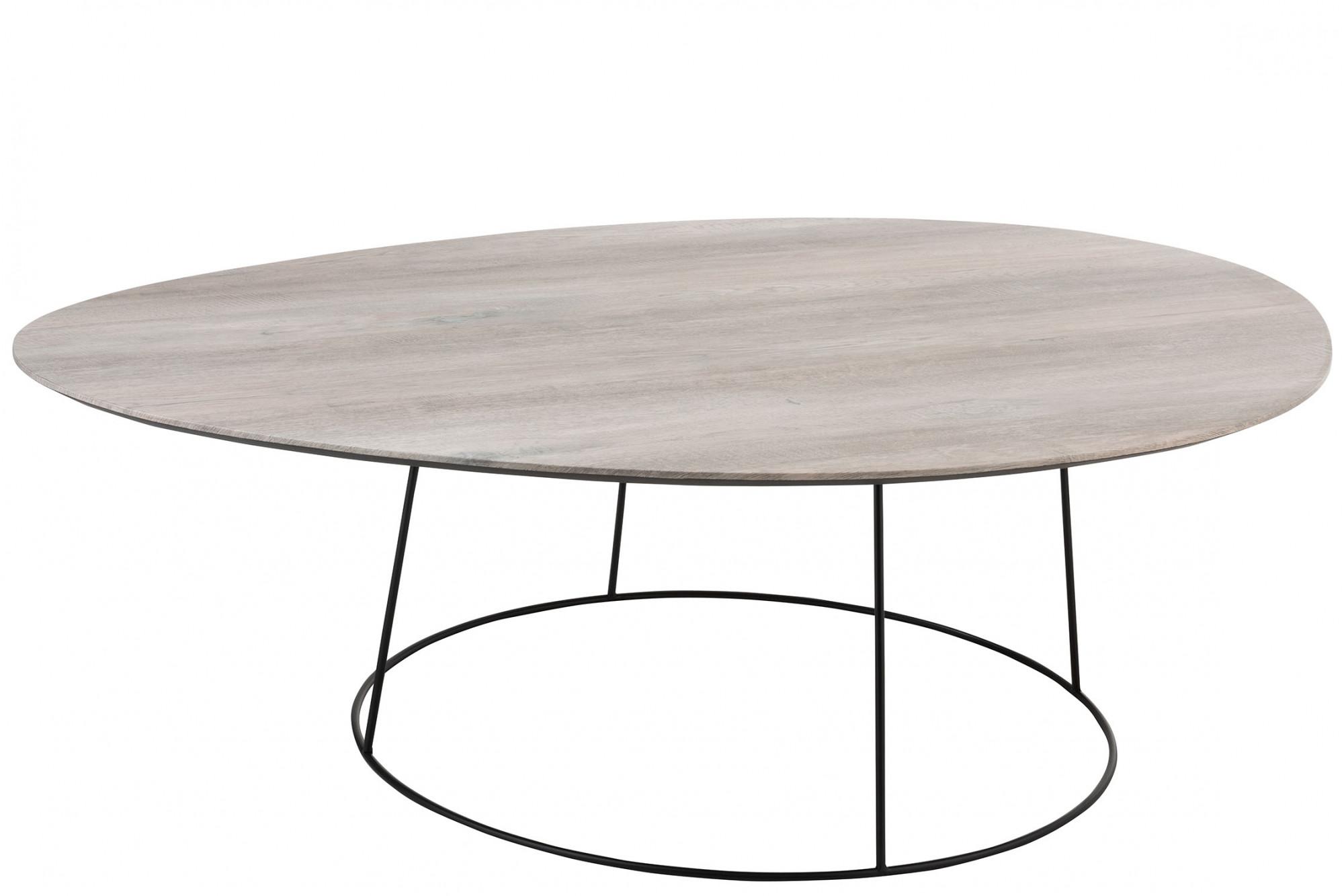Grande Table Basse Bois table basse moderne avec plateau ovale en bois clair - hellin