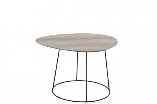 Table basse ovale en bois et métal - PEARL