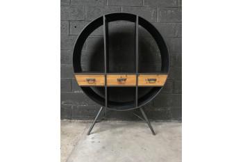 Bibliothèque ronde bois et métal TAUNO