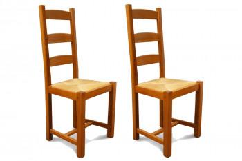 Chaises en bois - assise paille - Riga (Lot de 2)