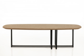 TABLE BASSE MODERNE ELLIPSE EN BOIS ET METAL - BRIGHTON