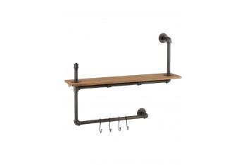 Porte-manteau industriel en bois et métal