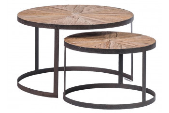Tables rondes en chêne recyclé (set de 2) - Balma