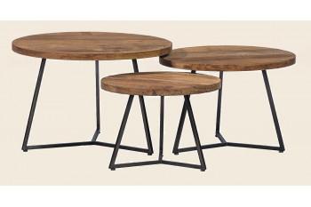 Tables basses en teck massif et métal (Set de 3) - X-TRA