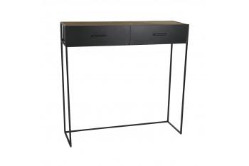 Console en bois et métal noir 2 tiroirs - SENTIEL